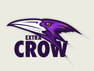 Extra Crow eye face crow bird icon animal cartoon branding design mascot logo character illustration vector