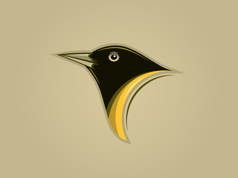 Cute black bird emberiza citrinella sparrow bird animal icon cartoon design mascot logo character illustration vector