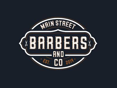 MAIN Street Barbers barbershop barber vintage retro typography id lettering branding design logo illustration vector