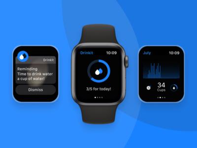 Daily Water Reminder Application on Apple Watch chart tracking uiux framer figma prototype visual digitalproductdesign app design application wellness digital apple watch