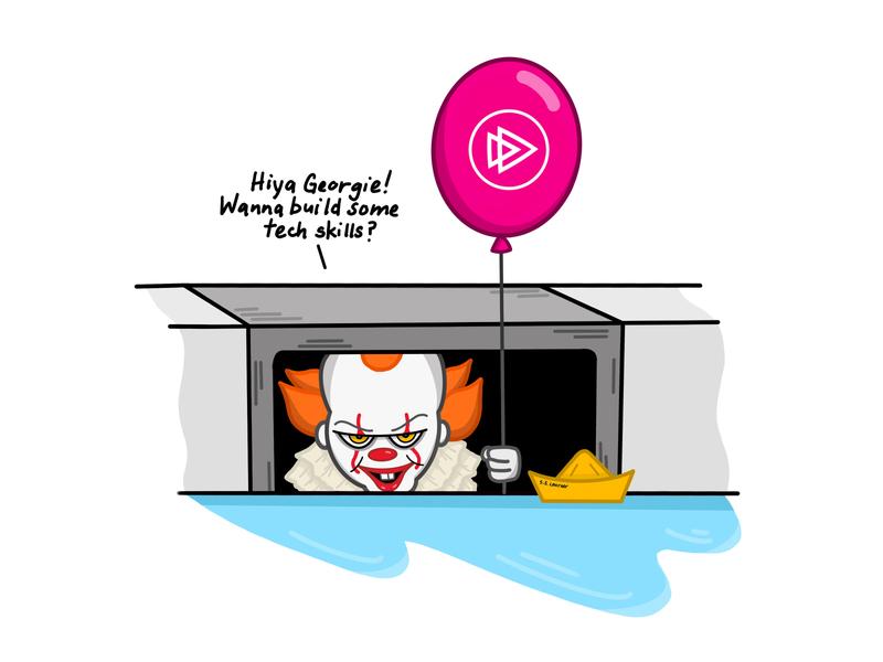 """Learn """"IT"""" at Pluralsight scary halloween tech skills creepy illustration pluralsight happy halloween it"""