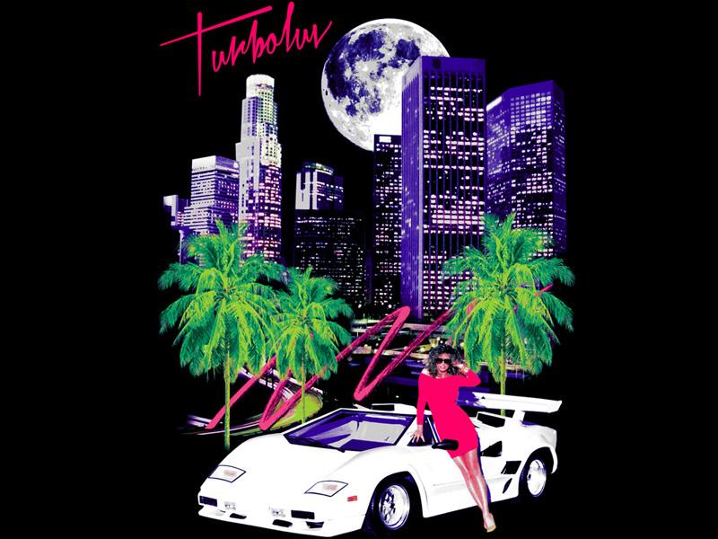 LA Drive outrun city la car girl 80s retro graphic apparel design t-shirt