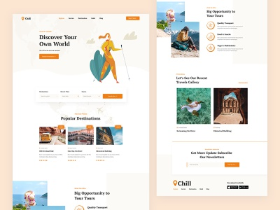 Travel Figma Template creative vector illustration ux ui landing page agency discover tour travel