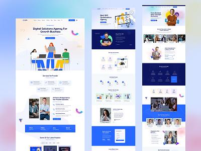 Digital Marketing Agency PSD Template creative clean design ux agency landing page we ui
