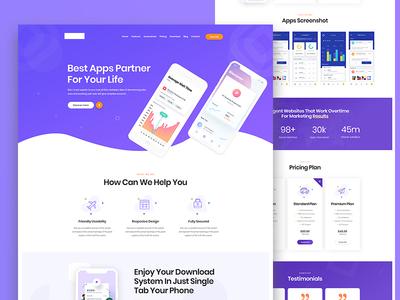 App Landing PSD Template illustration creative vector app design ui modern landing page clean