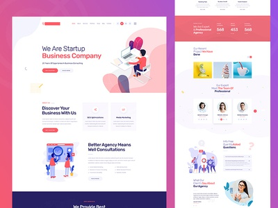 Agency PSD Template agency ui startup vector illustration modern creative clean