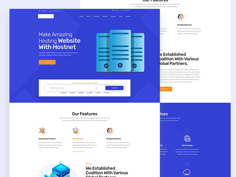 Hosting PSD Template business vector design modern domain hosting landing page creative clean