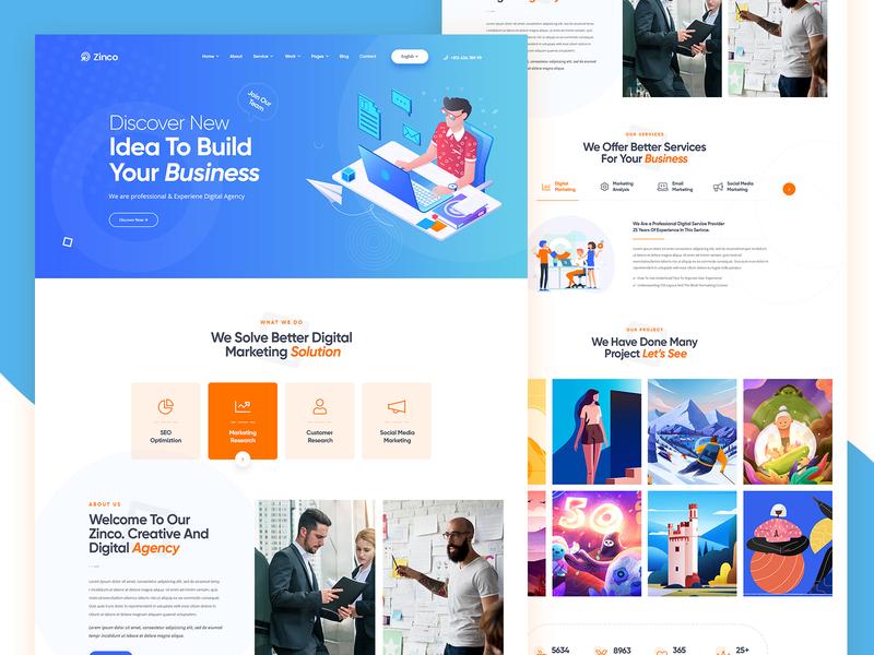 Digital Agency PSD Template digital agency corporate business illustration agency modern clean creative