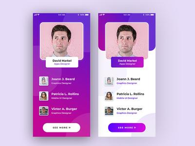Profile Page XD Mobile UI ui creative design app landing page clean