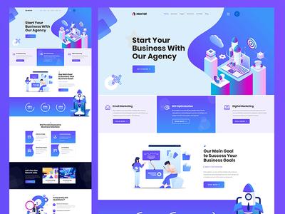 Digital Marketing PSD Template illustration agency business ux landing page ui creative modern clean