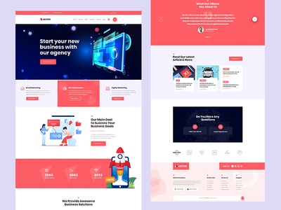 Digital Marketing PSD Template app business branding design illustration ui ux landing page modern clean