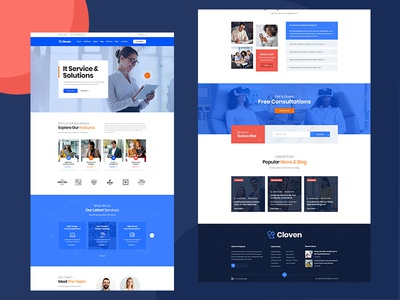 IT Solutions PSD Template design business ui ux agency branding creative clean solutions service it