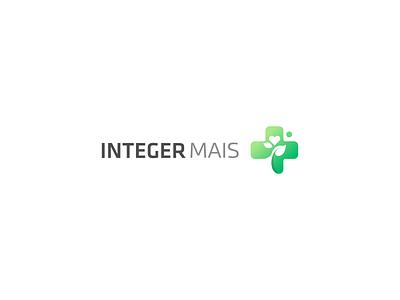 Integer Mais logotype design branding hearth health care logotype green leaf plus logo