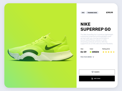 Daily UI :: Nike Product's page credit gradient shoes nike card green product chekcout sales web uidesign design ux ui