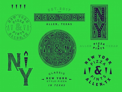 New York Pizza & Pints Pt. 2 logotype typography pizzeria pints stamp manhole texas new york pizza branding