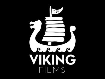 Viking films logo identity identidad gráfica marca logo white on black viking films brand