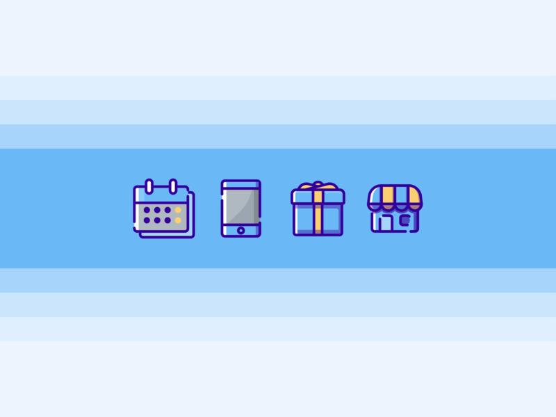 Blue Icons branding symbol minimal logo illustration flat design vector icon