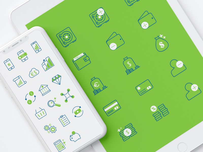 Finance Business Icons iphone graphics cloud diamond wallet account coins creditcard euro dollar safe savings investing stats currency finance icons bank money business finance