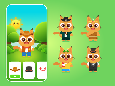 costume game app ui design illustration
