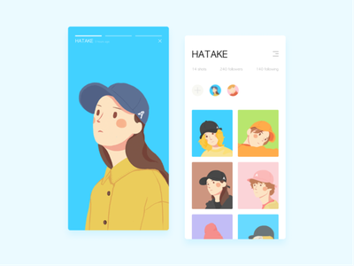 Portrait cap girl 2d character portrait design comic illustration