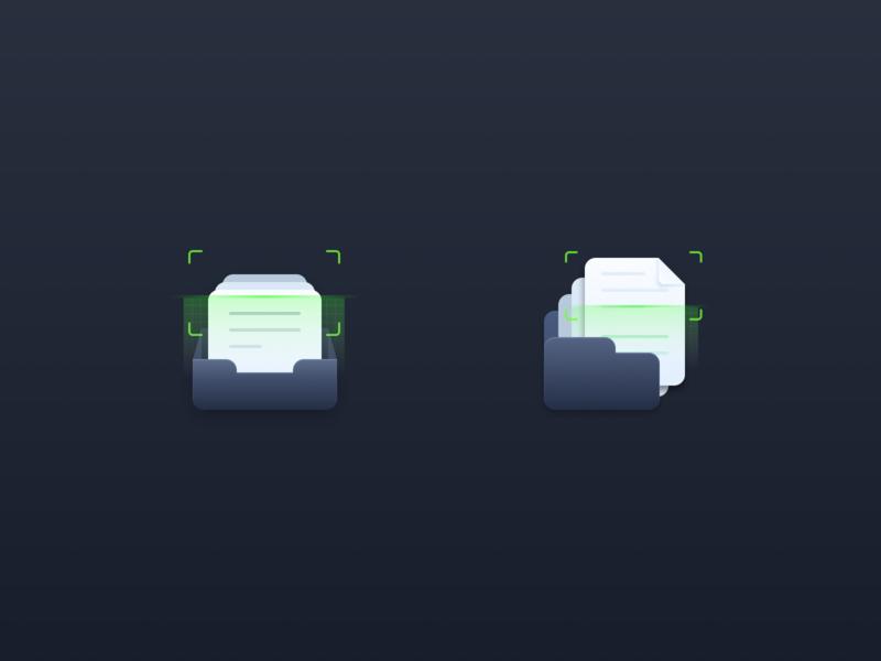 Scan folder scanner fold design vector icon illustration