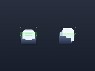 Scan folder scanner fold design vector icon illustration