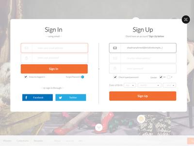 Sign In/Up Form sign in sign up sign up form sign in form modal modal window lightbox ecommerce shop