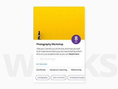 Workshop Card app ios website web card design minimal clean ux ui