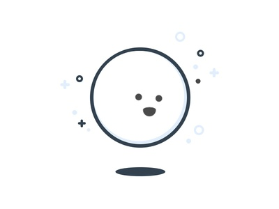 Character ball moon white flat line icon icon simple character illustration illustrator adobe