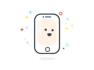 iPhone 6SE line icon icon simple white flat ios iphone illustrator illustration art adobe character