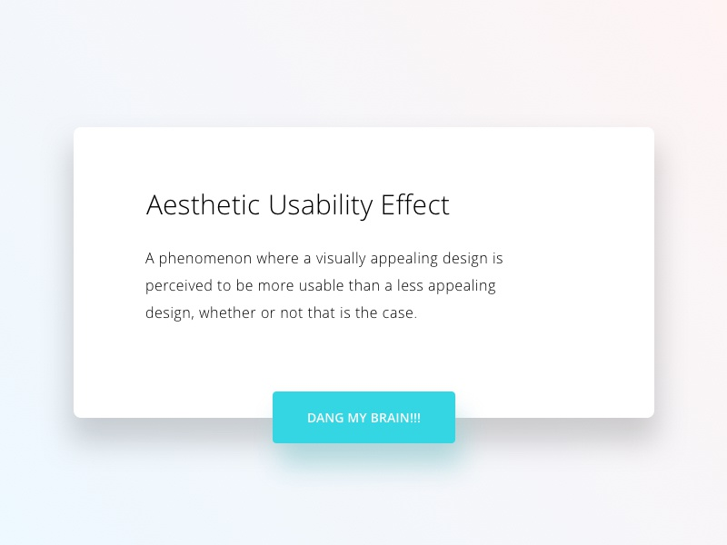 Aesthetic Usability Effect uiux ux ui flat clean aesthetic ios modal card design minimal white