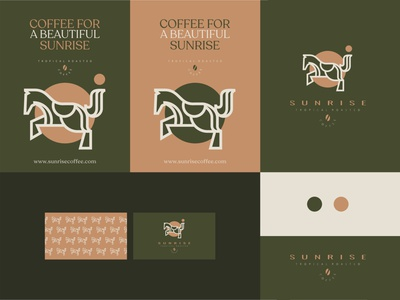 Sunrise Coffee Roasters Identity illustrations clean logo 2d brand identity lineart coffee horse minimal branding logo illustration