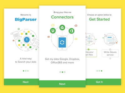 Onboarding BigParser App get started search white gloves connectors user experience user interface design mobile saas ux ui onboarding