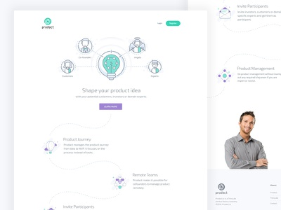 Home page design of a SaaS product web website bulb investor founder idea ux ui saas icons illustrations home