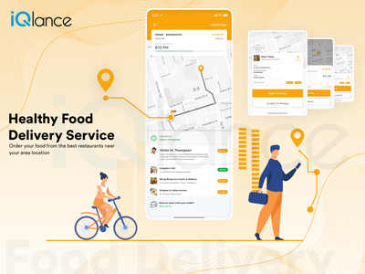 Healthy Food Delivery | Food Delivery | iQlance Solutions iphone android illustration web design app design mobile uiux food delivery ap