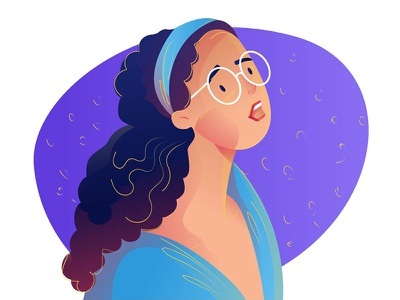 She glasses colours illustration digitalart curly girl design creative cartoon character characterdesign