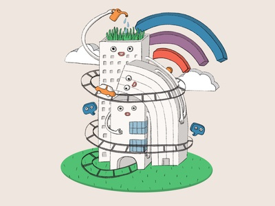 Home sweet home - smart cities smarthome messenger cloud rainbow cute coronavirus stayhome internet smartcity drawing design illustration character