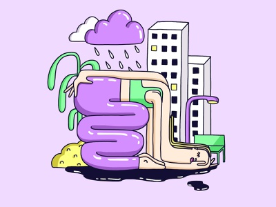 resignation cloud plant house depression procreate rain girl sad city digitaldrawing drawing art design characterdesign illustration character