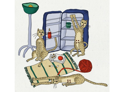 No Title design art drawing characterdesign cigarettes cats contemporary illustration