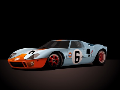 Ford GT 40 - Vector Illustration realistic ford sportscar car illustration vector car car fordgt40