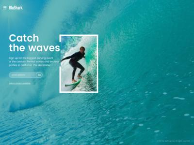 BluShark hero ocean waves rsvp landing signup webdesign surf ui