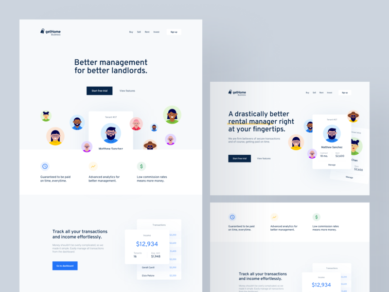 Landing Page Concepts interface indentity web design startup cards homepage landing page illustration saas branding layout web design app website concept clean minimal ux ui