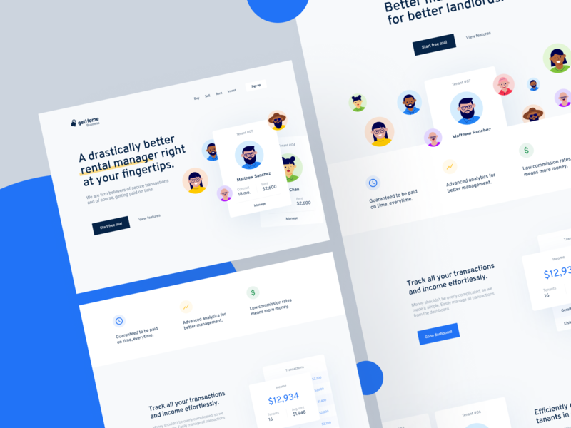 Alternative Landing Pages landing page service illustrations cards real estate webdesign app saas product branding layout flat web design website concept clean minimal ux ui