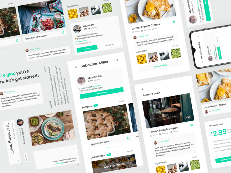 'It's F*cking Raw!!' Recipe App UI Kit ui kit concept material clean minimal mobile green flat food recipe interface app ux ui