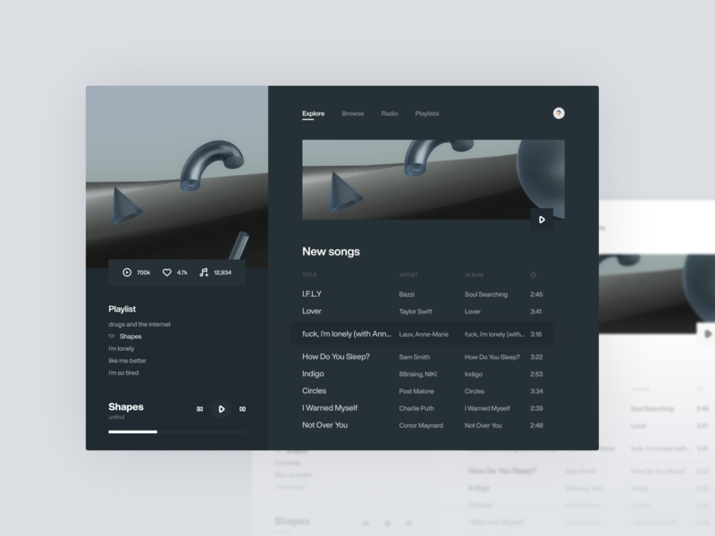 Underpants Music Player Dark Theme 🌙🩲 dark dark ui dark theme figma flat music player web concept website minimal clean ux ui