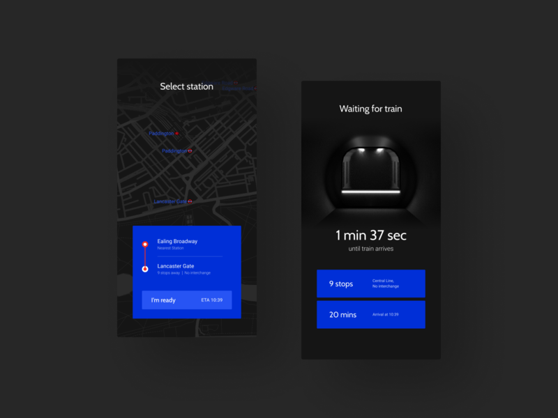 Rails: Metro App Concept blender clean ui interface transportation dark dark theme design flat app concept clean minimal ux ui