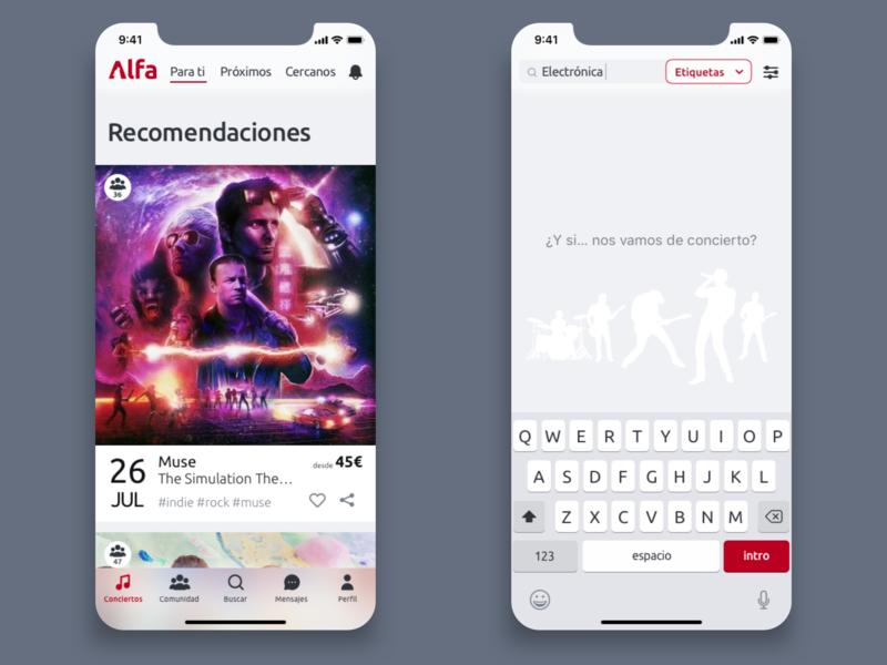 Alfa app ux ui concerts iphone x design thinking app