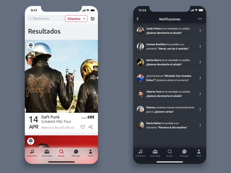Alfa app flat design ux ui iphone x design thinking concerts app