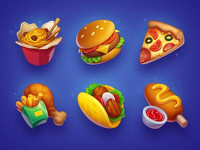 Fast Food corndog pizza chips wok chicken taco hamburger asset art fast food game icon game slot burger food illustration icons icon symbols symbol