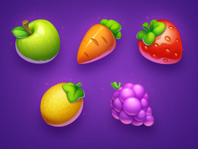 Healthy Food carrot strawberry melon apple grape vegetables healthy asset art health game icon game slot fruits food illustration icons icon symbols symbol